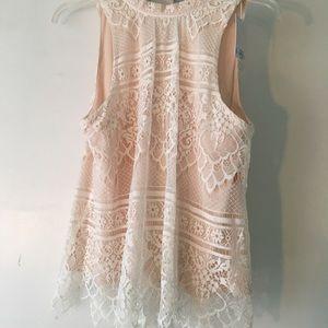 Lauren Conrad Pink lace tank top